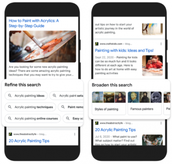 Previews auf die Google Features zu Refine this Search und Broaden this Search zu Acrylics. Refine: Ideen, Techniken, online Kurse, Sets, Farbe entfernen Broaden: Stile, berühmte Maler, etc.