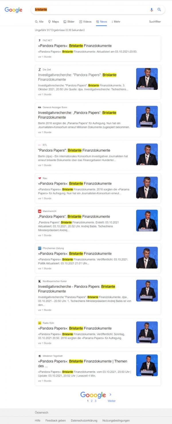 Screenshot der Suchergebnisse zu bristante. Es werden eine ganze Seite lang URLs von Publishern mit diesem Tippfehler angezeigt.