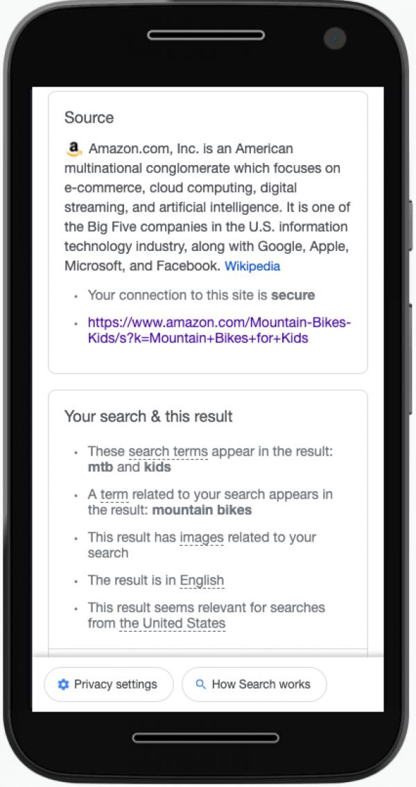 Screenshot von About This Result von Amazon