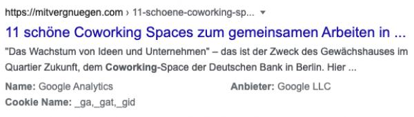 """Google-Suchergebnis zeigt ein Ergebnis von mitvergnügen.com zu """"Coworking Berlin"""" zeigt in strukturierter Form Inhalte aus dem Cookie-Banner"""