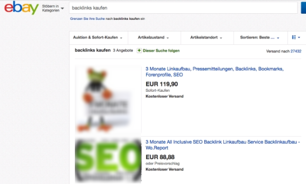Backlinks bei Ebay