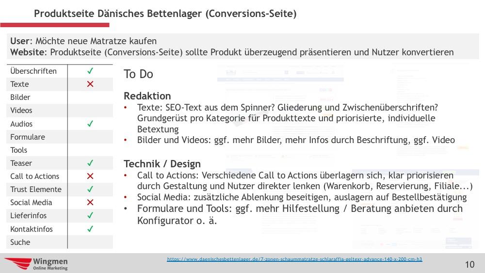Beispiele für Optimierungen auf Conversions-Seite
