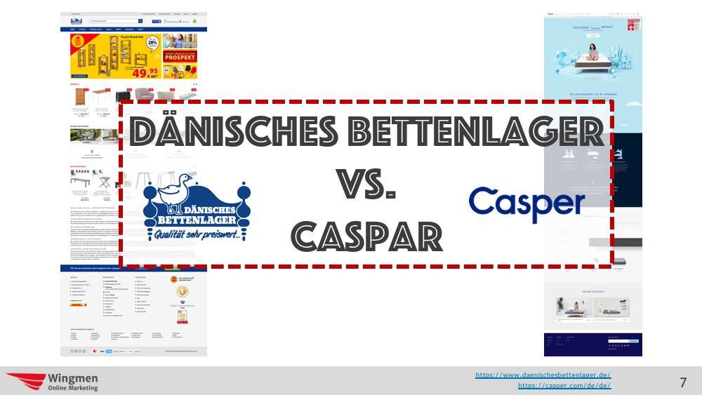Logos von Dänisches Bettenlager und Casper, 2 Matratzenherstellern die untersucht werden