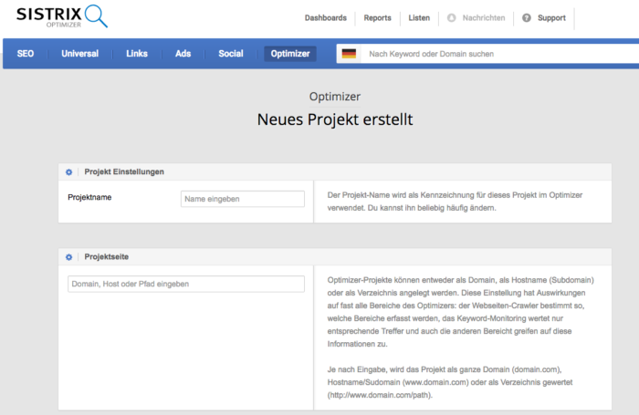 Neues Projekt im Sistrix Optimizer anlegen.