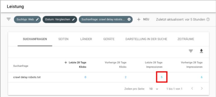 Screenshot: Vergleichtabelle gefiltert auf die betreffende Suchanfrage