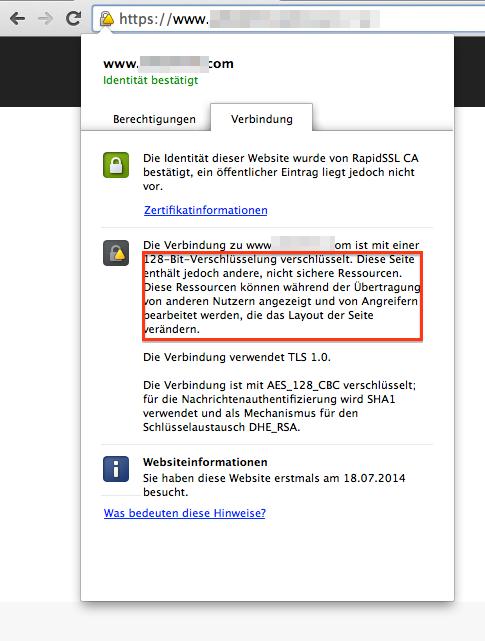 Screenshot von unsicherer SSL-Verbindung