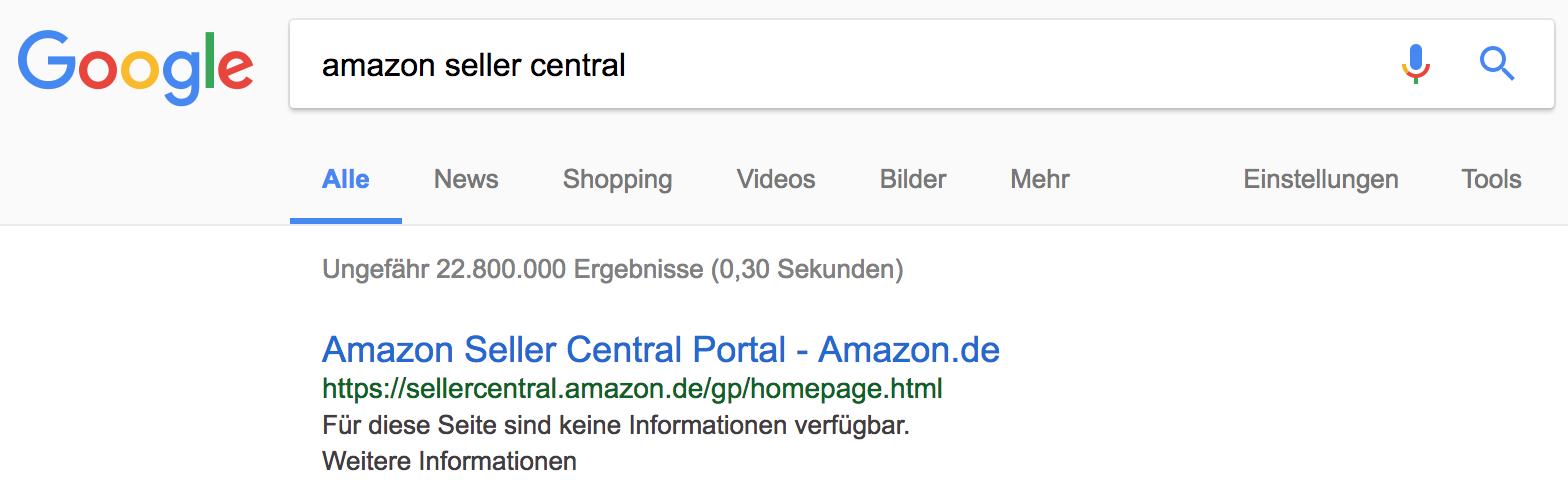 Amazon Seller Central wird in Google-Suchergebnissen ohne Description dargestellt