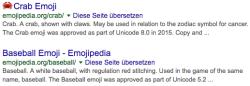 Suchergebnisse von emojipedia.org mit und ohne Emoji im Title