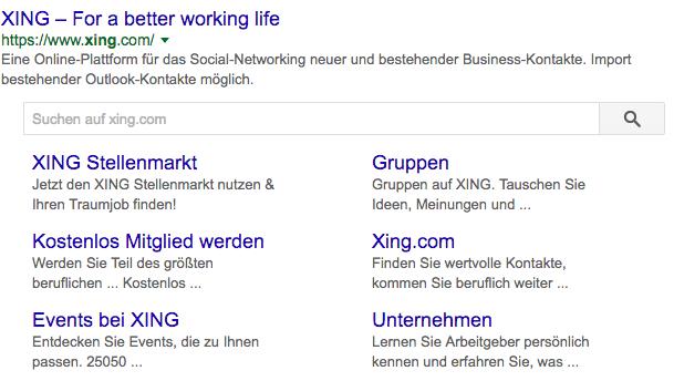 Sitelinks Search Box mit Suche auf XING