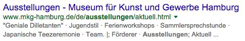 Snippet Design: Selbstgebasteltes Google Snippet für das MKG Hamburg
