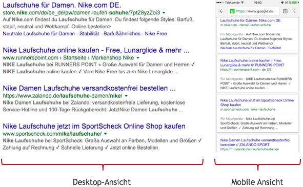 Desktop und Mobile: Snippet-Vergleich