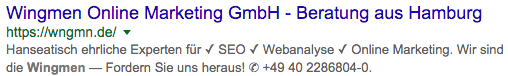 Suchergebnis-Snippet von Wingmen Online Marketing
