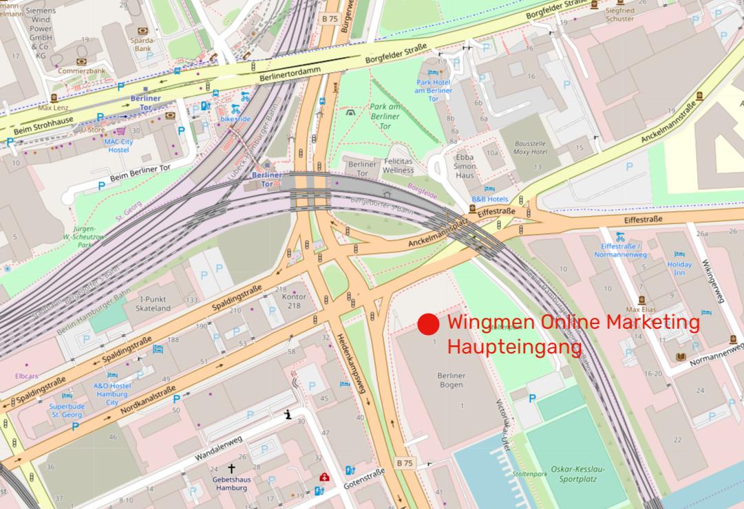 Die Lage des Berliner Bogens von der Haltestelle Berliner Tor aus