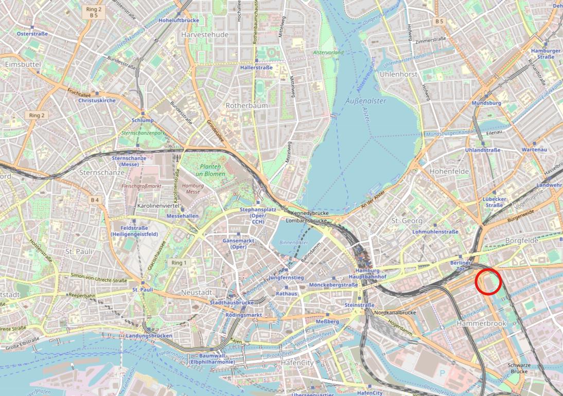 Die Lage des Berliner Bogen in Hamburg